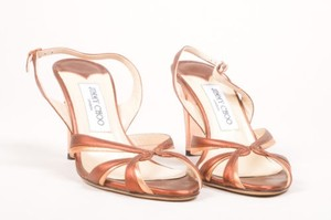 Jimmy Choo Gold Metallic Strappy Slingback Brown Sandals