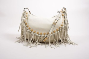 Valentino Leather Fringe Medallion Hobo Crossbody Shoulder Bag