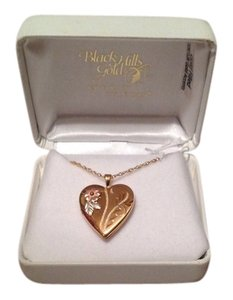 Coleman Black Hills Gold Engraved Heart Locket Necklace. Gold Filled 10k/12k Accents.