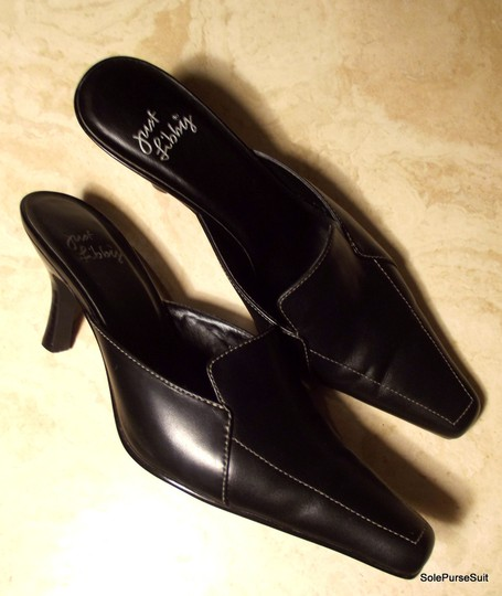 Sam Edelman Just Libby Libby Contrast Stitching Black Leather Mules