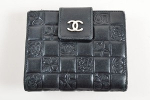 Chanel Chanel Black Leather Quilted Precious Symbols Chocolate Bar Bifold Wallet