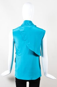 Derek Lam Turquoise Silk Draped Tie Front Sleeveless Top Blue