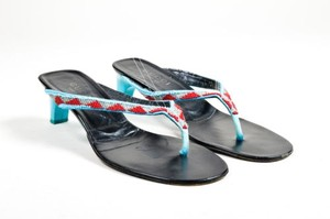 Gucci Leather Beaded Heel Thong Multi-Color Sandals