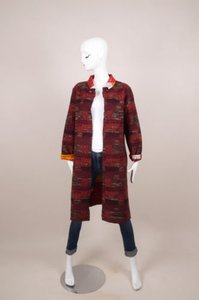Oscar de la Renta Red Woolsilk Tweed Reversible Coat