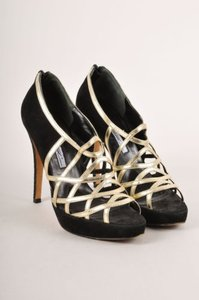 Brian Atwood Black Suede Gold Sandals