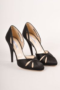 Oscar de la Renta Black Satin Cut Out Dorsay Pumps