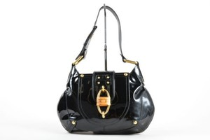 Salvatore Ferragamo Patent Leather Bamboo Buckle Shoulder Bag