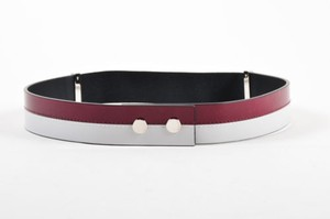Marni Marni Cerise Red Light Gray Patent Leather Elastic Waist Belt 80