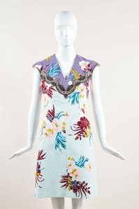Etro Blue Cotton Floral Print Cap Sleeve Sheath Dress
