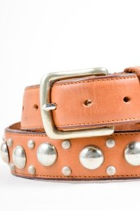 Calvin Klein Calvin Klein Brown Leather Studded Embellished Buckle Belt 75