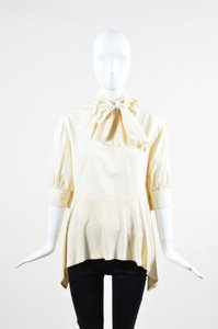Doo.Ri Poplin Silk Contrast Tie Collar Crop Sleeve Shirt Top Cream