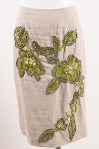 Other Lela Rose Beige Green Canvas Beaded Rhinestone Floral Detail Pencil Skirt