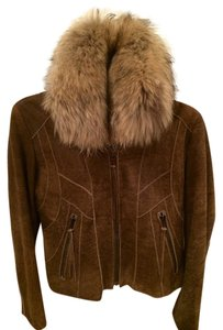 Andrew Marc Leather Suede Brown w/ Fur Leather Jacket