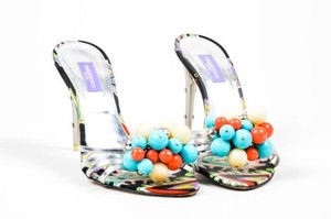 Emilio Pucci Silver Metallic Multi-Color Sandals