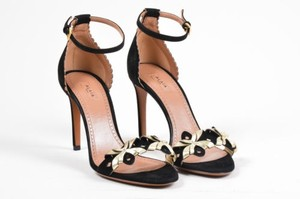ALAÏA Alaia Gold Tone Suede Leather Cut Out High Heel Black Sandals