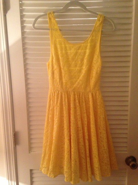 Pins and Needles short dress Yellow Lace Flowy Backless on Tradesy