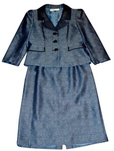 Tahari Tahari Women's Black/ Blue 3-button Skirt Suit