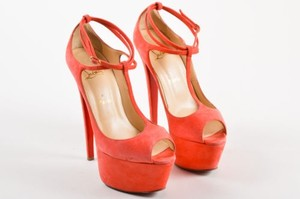 Christian Louboutin Suede Leather Platform Talitha Coral Sandals