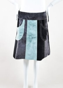 Derek Lam Gray Black Mint Green Suede Leather Patchwork Skirt Multi-Color