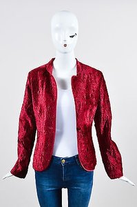 Max Mara Max Mara Burgundy Red Crushed Velvet Floral Embroidered Blazer Jacket