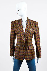 Herms Hermes Green Multicolor Wool Houndstooth Long Sleeve Blazer Jacket