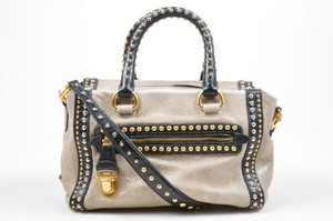 Prada Black Gold Silver Cracked Leather Craquele Studded Tote in Gray