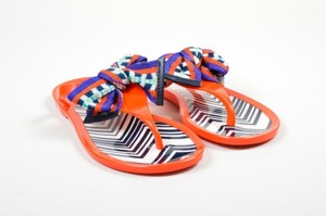 Missoni Red Orange Pvc Knit Bow Flat Jelly Thong Multi-Color Sandals