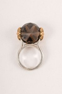 Stephen Dweck Stephen Dweck Sterling Silvergray Raised Faceted Stone Cocktail Ring 7.75