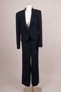Chanel Chanel Navy Crepe Wide-leg Pant Suit