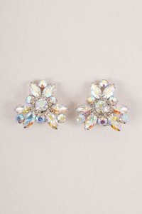 Weiss Furs Vintage Weiss Iridescent Rhinestone Rosette Clip On Earrings