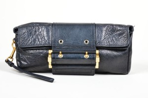 Givenchy Leather Gold Black Clutch