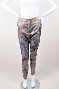 J. Mendel Metallic Copper Gray Silk Brocade Tapered Trousers Pants