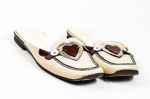 Prada Beige Red Pink Leather Multi-Color Flats