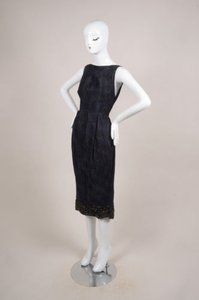 Giambattista Valli Navy Blue Black Silk Plaid Brocade Embellished 42s Dress