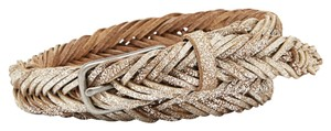 Fossil Fossil Brand Silver Brown Fishtail Braid Leather Belt