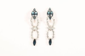 Other Vintage Silver Blue Rhinestone Dangle Clip On Earrings