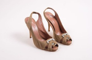 Giuseppe Zanotti Khaki Suede Leather Rhinestone Peep Toe Slingbacks Green Pumps