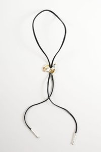 Black Leather Gold Tone Silver Tone Rooster Chicken Bolo Tie Necklace