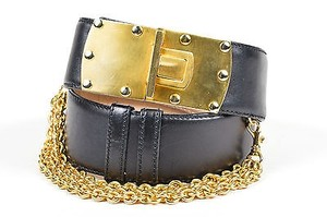 Donna Karan Vintage Donna Karan Black Gold Tone Leather Chain Embellished Buckle Belt