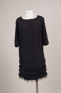 Nina Ricci Black Silk Lace Trim Tiered Drawstring Dress