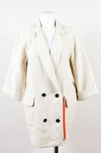 3.1 Phillip Lim Cotton Linen Double Breasted Quarter Sleeve Cream Jacket