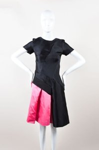 J. Mendel Pink Colorblock Silk Ss Flared 0 Dress