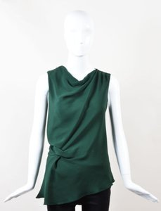 Derek Lam Hunter Silk Draped Twist Sleeveless Top Green