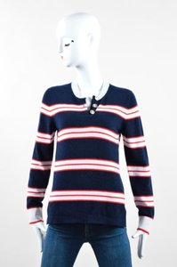 Barrie Pace Navy Blue Red White Sweater