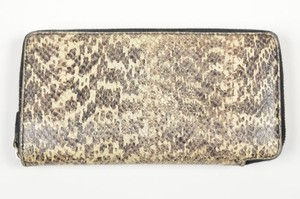 Céline Celine Beige Black Gray Snakeskin Embossed Leather Continental Zip Wallet