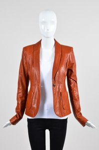 Rachel Zoe Rachel Zoe Red Brown Leather Button Tailored Long Sleeve Blazer Jacket