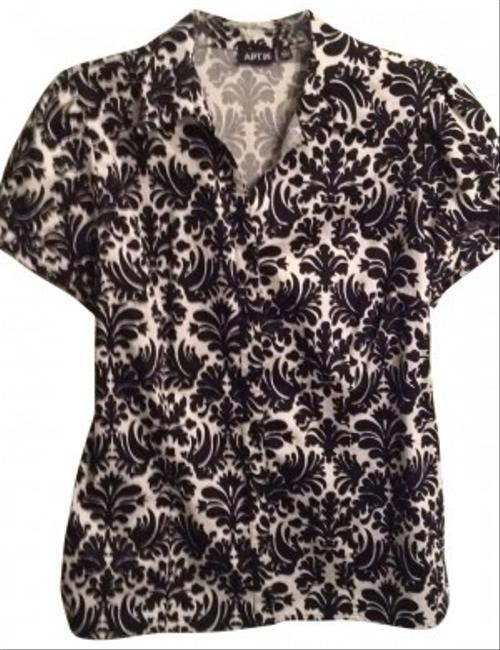 Apt. 9 Button Down Shirt black and ivory