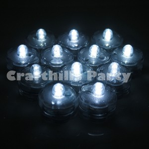White 48 Pcs Led Submersible Waterproof Floral Centerpiece Party Tea Vase Light Unity Candle
