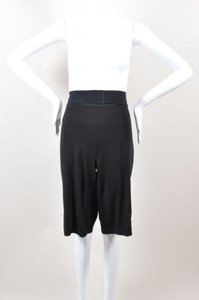 Marie Saint Pierre Neon Yellow Stretch Knit Belted Gaucho Shorts Black