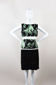 J. Mendel Green Black Floral Organza Sleeveless Sheath Dress